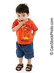 Boy Child Standing - Toddler boy in summer clothes making...