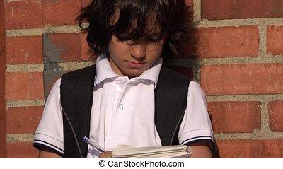 Boy Child Student Writing
