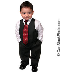 Litte Man in a business suit standing with his hands in his pockets. Shot on white.