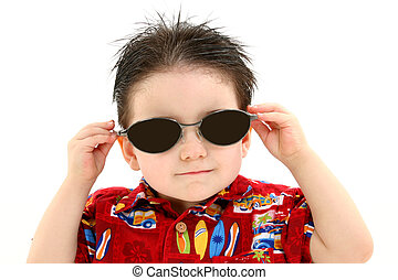 Boy Child Sunglasses - Adorable Boy In Dark Sunglasses And...