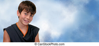 Brunette boy with braces on a blue and white background.