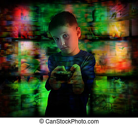 Boy Child Watching Television with Remote Control - A young...