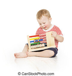 Boy child with abacus clock counting, smart little kid study...