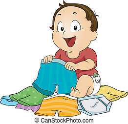 Boy Choosing Underwear - Illustration of a Baby Boy Choosing...