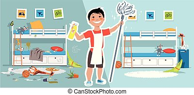 Boy cleaning his room