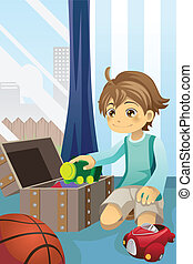 Boy cleaning up his toys - A vector illustration of a boy...