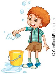 Boy cleaning with sponge illustration