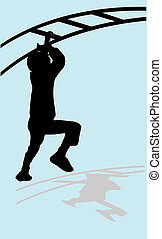 boy climb a monkey bar vector illustration