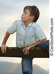 Boy climbing on a fence