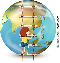 Boy climbing up ladder