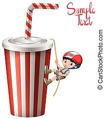 Boy climbing up plastic cup