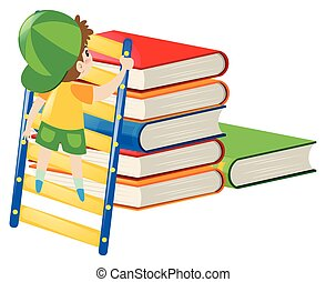 Boy climbing up the stack of books