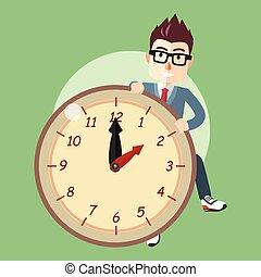boy clock cartoon illustration