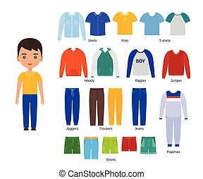 Boy with clothes. Vector. Baby clothing. Cartoon character paper doll with casual cloths set isolated on white background. Illustration of children pants, shirts, shorts, knitwear and pajamas.