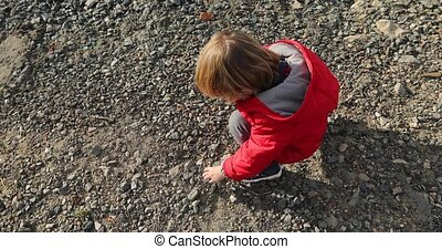 Boy collects stones