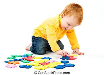 Boy connect puzzles