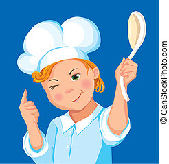 Boy cook with a spoon on a blue background