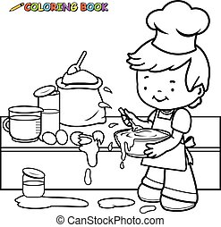 Boy cooking coloring book page