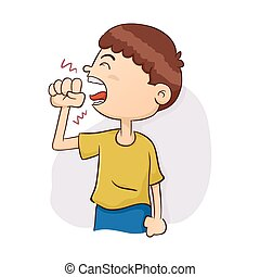 Boy Coughing Illustration - Vector Illustration of a Boy...