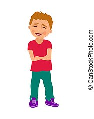 Boy crossed his arms and smiles. Color vector flat