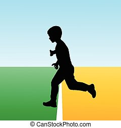 Boy crossing the finish line, concept illustration for new beginning