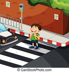 Boy crossing the road at zebra crossing illustration