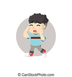 Boy crying illustration