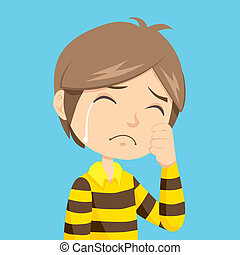 Boy Crying - Lonely and sad little boy crying with stripped...