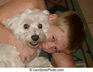 Boy cuddling with little dog