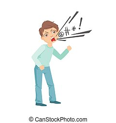 Boy Cursing Teenage Bully Demonstrating Mischievous Uncontrollable Delinquent Behavior Cartoon Illustration