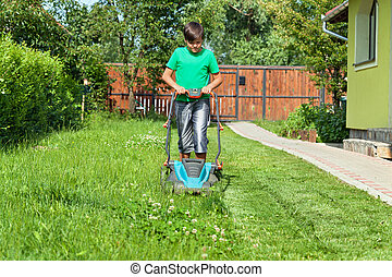 Boy cutting grass around the house in summertime - focusing ...