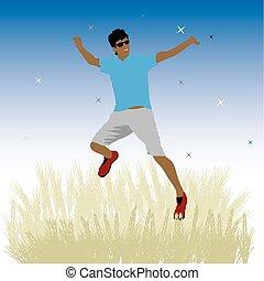 Boy dance on meadow, night sky
