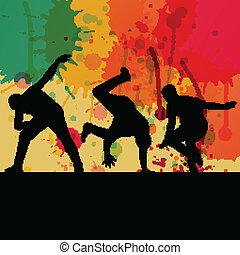 Boy dance silhouette vector color splash background concept