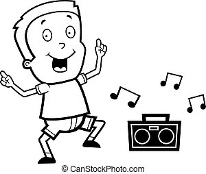 A Happy Cartoon Boy Dancing And Smiling