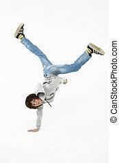 boy dancing break dance on a white background