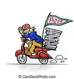 boy delivering pizza on scooter - vector illustration