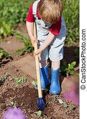 Boy Digging Soil While Gardening