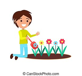 Boy Digging with Little Shovel Flower Bed Vector - Boy...