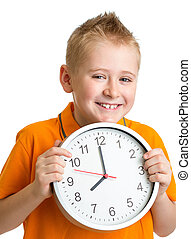 boy displaying eight o'clock time in studio isolated