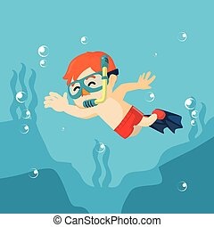 Boy diving and waving hand