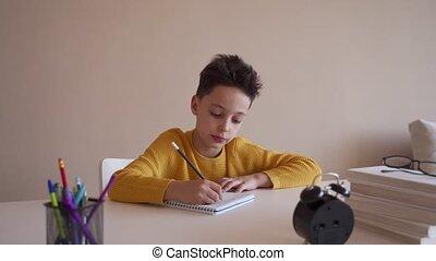 Boy do school homework, writes a ballpoint pen in a...