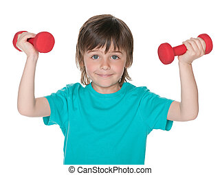 Boy does exercises with dumbbells