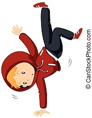 Boy doing breakdancing alone illustration