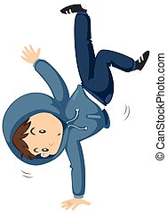 Boy doing breakdancing alone illustration