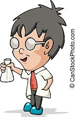 Boy doing chemical experiment