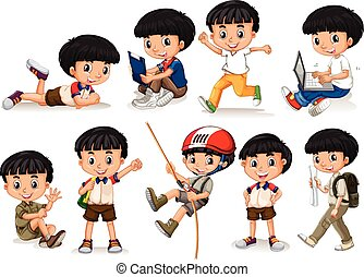Boy doing different actions illustration