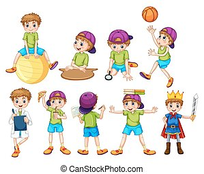 Boy doing different activities illustration