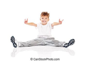 Boy doing gymnastics