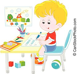 Boy doing homework after his game with toys