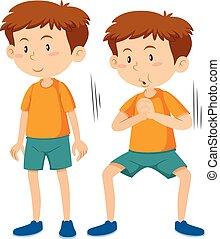Boy doing squat execerise